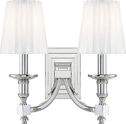 Metropolitan N2642-613 Two Light Wall Sconce in Polished Nickel finish with White Pleated Shades (incl.)