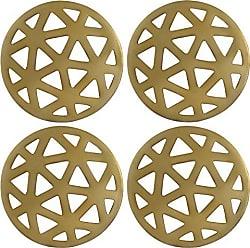 Thirstystone NCH030 Geometric Cut Finish gold coasters, One Size