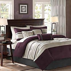 Madison Park Palmer 7 Piece Comforter Set - Plum - California King - Pieced Microsuede - Includes 1 Comforter, 3 Decorative Pillows, 1 Bed Skirt, 2 Shams