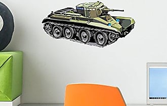 Wallmonkeys Green Camo Tank Wall Decal Peel and Stick Graphic for Kids (12 in W x 6 in H) WM39691