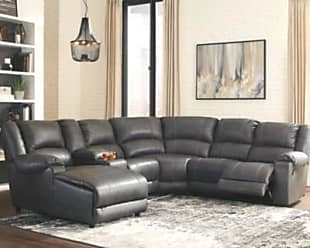 Ashley Furniture Brambleton 6-Piece Reclining Sectional with Chaise, Charcoal
