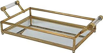 Deco 79 85447 Contemporary Gold Metal and Mirror Rectangular Tray with Handles, 5 x 22