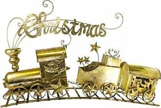 Queens of Christmas WL-TRN-30-GO 30 in. Gold 3 Car Metal Train Set