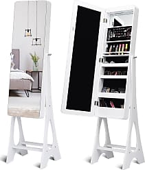 Costway LED Jewelry Cabinet with Bevel Edge Full Size Mirror