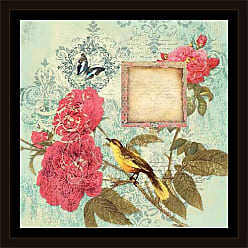 EAZL Vintage Botanical Elegant Bird & Butterfly Painting Blue & Pink, Framed Canvas Art by Pied Piper Creative