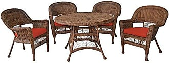 Jeco W00205D-C-G-FS018 5 Piece Wicker Dining Set with Red Cushions, Honey