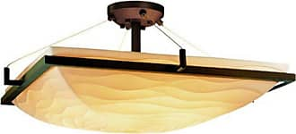 Justice Design Group PNA-9782 - Ring 24 in. Square Semi Flush Bowl with Waves Shade - PNA-9782-25-WAVE-DBRZ-LED5-5000