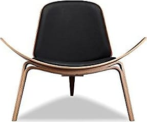 Kardiel Tripod Plywood Modern Lounge Chair, Black Italian Leather/Walnut