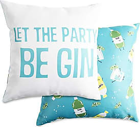 Pavilion Gift Company Pavilion-Let The Party Be Gin-14x14 Inch Light Blue Patterned Cover Pillow 14X14
