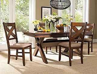 Round Hill Furniture Karven 5-Piece Solid Wood Dining Set with Table and 4 Chairs