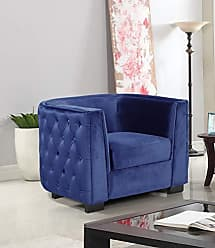 Iconic Home FCC9266-AN Saratov Club Chair Velvet Upholstered Button Tufted Curved Shelter Arm Design Espresso Finished Wood Legs Modern Transitional Navy