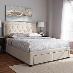 Baxton Studio Aurelie Modern and Contemporary Fabric Upholstered Storage Platform Bed, Size: King,Queen - CF8622-D-LIGHT BEIGE-QUEEN