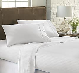 iEnjoy Home Dobby 4 Piece Home Collection Premium Embossed Stripe Design Bed Sheet Set, Queen, White
