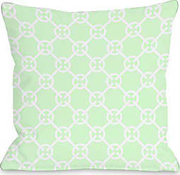 One Bella Casa Cecile Circles Throw Pillow by OBC, 18x 18, Mint/Green
