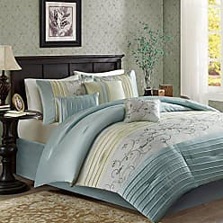 Madison Park Serene Cal King Size Bed Comforter Set Bed in A Bag - Aqua, Embroidered - 7 Pieces Bedding Sets - Faux Silk Bedroom Comforters