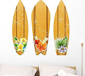 Wallmonkeys FOT-81560989-36 WM69187 Wooden Surfboards with Floral Prints Peel and Stick Wall Decals H x 36 in W, 36 36 W-Large