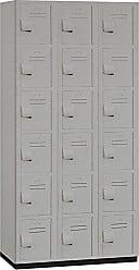 Salsbury Industries 6-Tier Box Style Heavy Duty Plastic Locker with Three Wide Storage Units, 6-Feet High by 18-Inch Deep, Gray