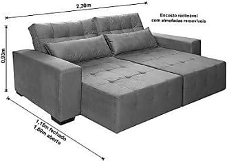 Cama inBox Sofá Retrátil, Reclinável e Cama com Molas New Confort 2,30 Tecido Suede Cinza - Moveis Marfim