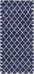Unique Loom Rabat Shag Collection Lattice Trellis Geometric Moroccan Plush Navy Blue Runner Rug (3 x 6)