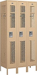 Salsbury Industries Assembled 1-Tier Vented Metal Locker with Three Wide Storage Units, 6-Feet High by 18-Inch Deep, Tan