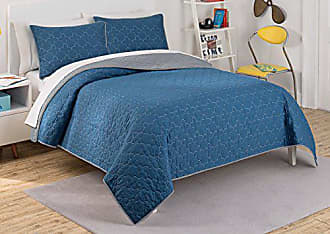 Ellery Homestyles Waverly Kids 16450BEDDTWNIND Framework 90-Inch by 68-Inch Reversible Twin Quilt Collection, Indigo
