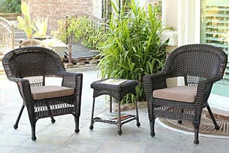 Jeco W00201_2-CES007 3 Piece Wicker End Table Set with with Brown Chair Cushion, Espresso