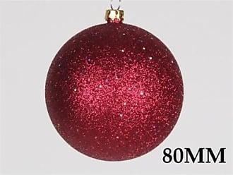 Queens of Christmas WL-ORN-BLKG-80-BU-W WL-ORN-BLKG-80-BU-W- 80mm Glitter Burgandy ball ornament w/wire