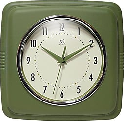 Infinity Instruments Square Retro 9.25 Wall Clock, Sage Green