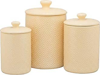 10 Strawberry Street CAN Yell Diamond Kitchen Canister Set, Set of 3, Yellow