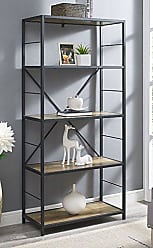 Walker Edison WE Furniture X-Frame Metal & Wood Media Bookshelf, 63 - Multiple Colors