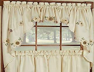 Sweet Home Collection Sunflower Cream Embroidered Kitchen Curtains Swag Pair