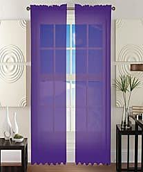 Elegant Comfort 2-Piece Sheer Window Curtain/Panel with 2 Rod Pocket - Window Curtains 60 w X 84 Length - Eggplant-Purple
