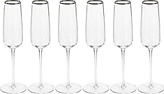 Zodax London 10.5 Tall Flutes with Platinum Rim (Set of 6) Champagne Glasses 6 Piece
