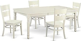East West Furniture DORO5-LWH-W 5 Piece Dining Room Table and 4 Kitchen Nook Chairs