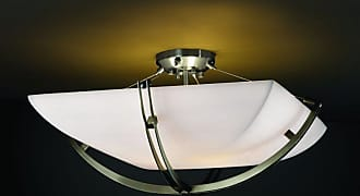 Justice Design PNA-9712 Crossbar 24 in. Semi-Flush Square Bowl with Smooth Shade - PNA-9712-25-SMTH-DBRZ-LED5-5000