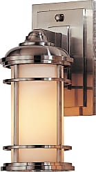Feiss OL2200BS Lighthouse Wall Mount Lantern in Brushed Steel finish with Opal etched glass