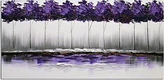 Omax Decor OMAX Decor Twilights Plum-Rose Forest Original Oil Painting On Canvas - M 3160
