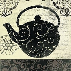 The Stupell Home Décor Collection The Stupell Home Decor Collection Teapot Cream and Black Kitchen Wall Plaque