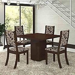 Viero Conjunto para Sala de Jantar Mesa e 4 Cadeiras Viero Dunia Choco/Medina