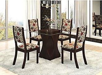 Viero Conjunto Sala de Jantar Mesa Tampo Vidro Ciranda 4 Cadeiras Kiara Viero Choco/Passion