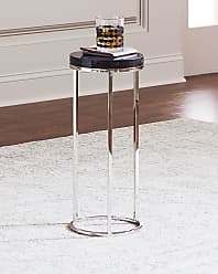 Interlude Home Letitia Round Stainless Steel Side Table, Smoke Gray/Silver