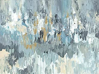 Art Maison Canada AMASNJ11124X30 Blue Layers Abstract I Canvas Wall Art, 24X30, Gray, Yellow