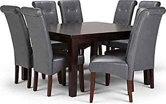 Simpli Home Simpli Home AXCDS9-COS-G Cosmopolitan Contemporary 9 Pc Dining Set with 8 Upholstered Dining Chairs and 54 inch Wide Table