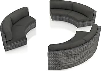 Harmonia Living Outdoor Harmonia Living District Wicker 3 Piece Patio Conversation Set Canvas Charcoal - HL-DIS-TS-3CSEC-CC
