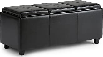 Simpli Home Avalon Faux Leather Storage Ottoman in Midnight Black with Three Trays