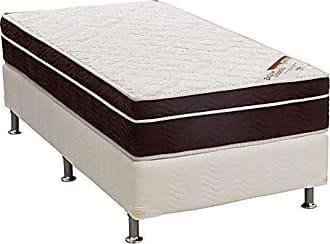 Ortobom Conjunto Cama Box Light Branco com Colchão Solteiro Espuma D45 Exclusive Ortopédico (27x88x188) Marrom