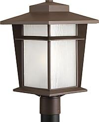 PROGRESS Loyal Antique Bronze 1-Lt. Post Lantern w/Bulb (11) Etched seeded glass panels
