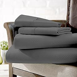 iEnjoy Home 4 Piece Sheet Set Embossed Checkered Pattern King Gray