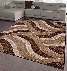 Ottomanson City Collection Contemporary Sculpted Effect Abstract Waves Chocolate Brown Beige Area Rug - 5x7 (53 x 73)