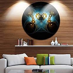 DESIGN ART Designart Unique Light Blue Fractal Design Pattern Abstract Circle Wall Art- Disc of 38 38x38-Disc of 38 inch